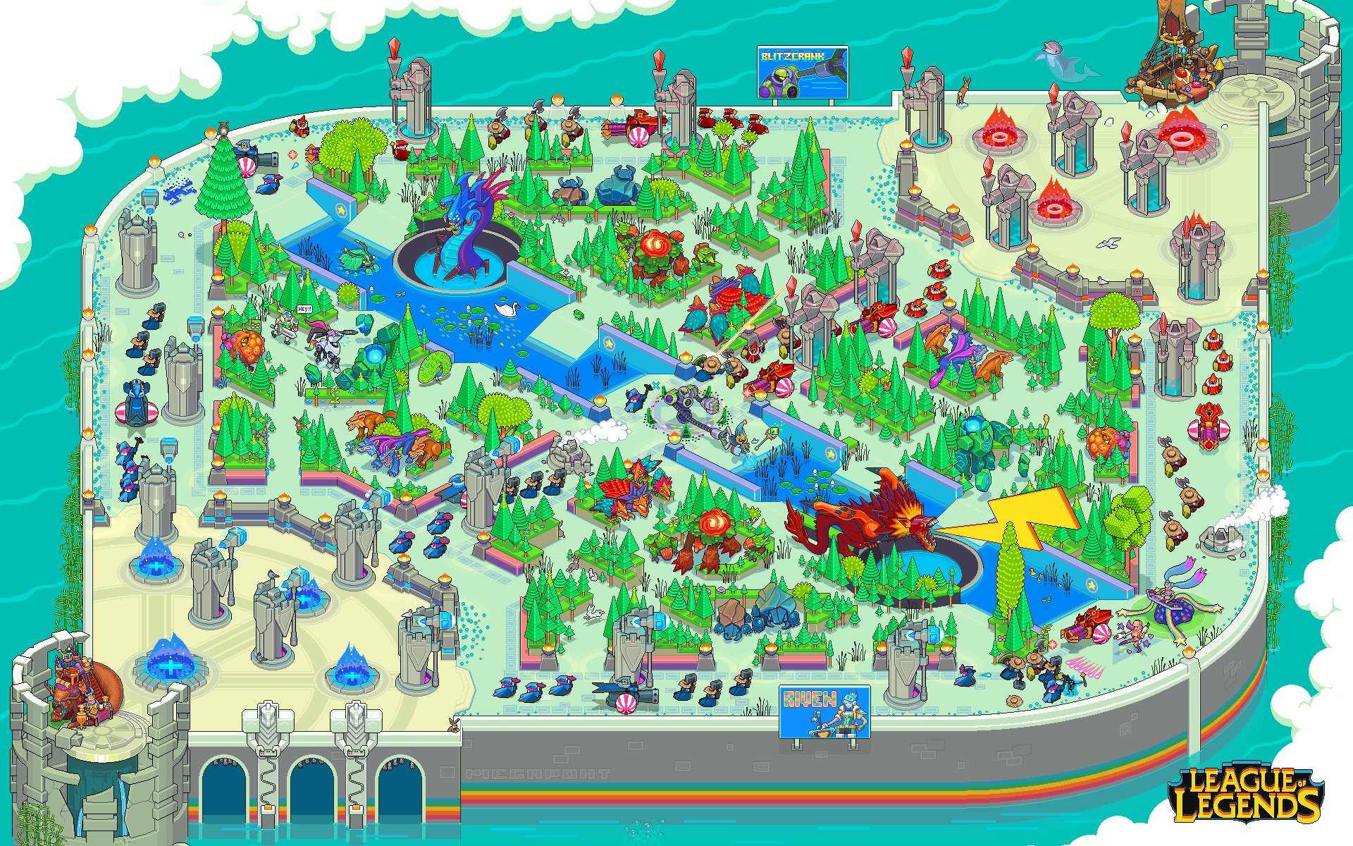 Pixel Art Summoners Rift Wallpaper League Of Legends